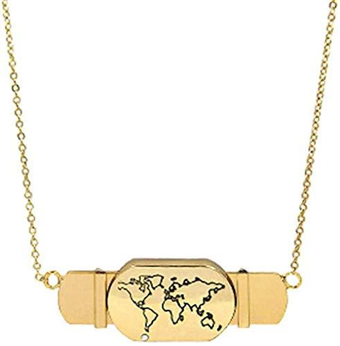 AOAOTOTQ Co.,ltd Collar Joyas Oro Amor Corazón Avión Viaje Mapa Slide Charm Collares Collares de Barra de Acero Inoxidable para Regalo de Mujer