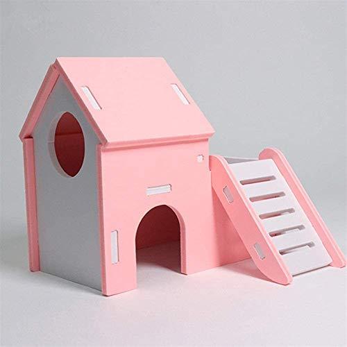 NOCEVCX Hamster Camas de Madera de hámster escondite Rata Casa con Divertido Escalera Que Sube por un hámster Enano ratón Jerbo (Color: Azul, tamaño: 15.5x15x13.5cm)