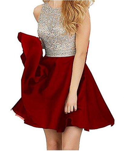 TANGFUTI Beading Short Prom Dresses Open Back Satin Homecoming Dresses 107DR-US8 Dark Red