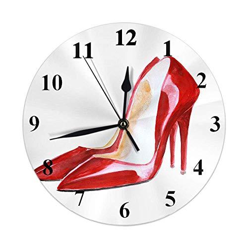 GOSMAO 25cm (9.8') Redondo Reloj de Pared Silencioso No Tick Tack Ruido Reloj de Pared Zapatos Mujer Sexy Piel Acuarela