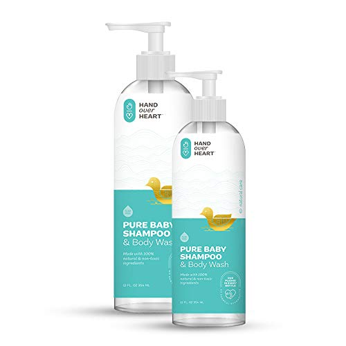 Hand over Heart 100% Natural Baby Shampoo and Body Wash - Hypoallergenic Baby Bath - 2 Pack Bundle Tear Free Gentle Formula for Baby's Sensitive Skin Mildly Scented Cleans Soothes and Moisturizes