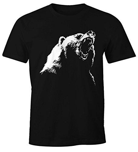 MoonWorks Herren T-Shirt Grizzly Bär schwarz 3XL