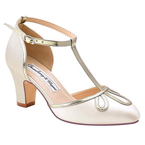 Duosheng & Elegant HC2025 Zapatos para Novia Boda T-Strap Zapatos Boda Comodos...