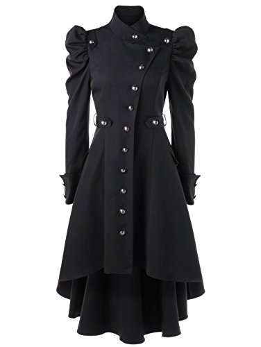 Nihsatin Vintage Womens Steampunk Victorian Swallow Tail Long Trench Coat Jacket