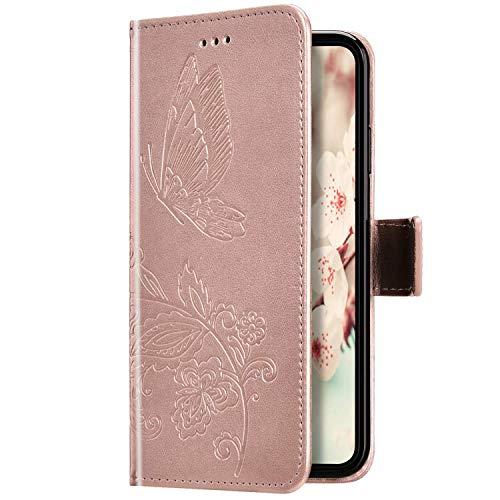 Uposao Kompatibel mit iPhone 11 Pro Hülle Leder Schutzhülle Schmetterling Blumen Motiv Muster Brieftasche Handyhülle Wallet Flip Case Klapphülle Tasche Magnet Kartenfächer,Rose Gold