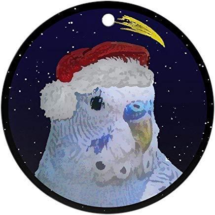 Lplpol Vo316 - Adorno de Navidad, diseño de periquitos azules de cerámica y porcelana redonda para colgar árbol de Navidad