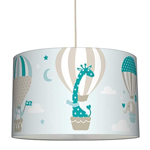 lovely label Hängelampe HEISSLUFTBALLOONS Taupe/Mint/Petrol – Lampenschirm für Kinder/Baby, Schirm mit Tieren – Komplette Hängeleuchte für Kinderzimmer Mädchen & Junge