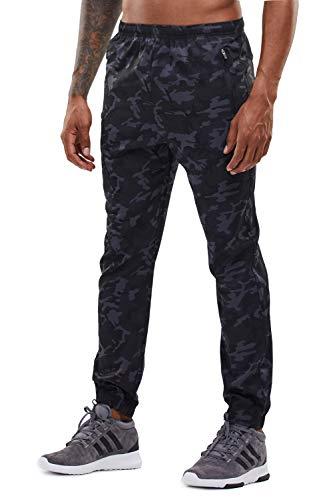 YAWHO Herren Jogginghose Trainingshose Sporthose Sweathose Fitnesshose Freizeithose Lang mit Reissverschluss Taschen und Kordelzug (Camouflage (1601), M)