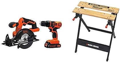BLACK+DECKER 20V MAX Cordless Drill/Driver Combo Kit w/Saw & Workmate Portable Workbench, 350-Pound Capacity (BD2KITCDDCS & WM125)