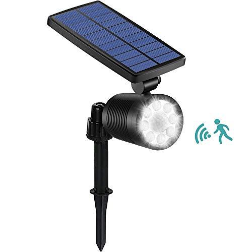 Ubitree Solarstrahler mit Bewegungssensor, 8 LED Garten Solarleuchten Wasserdicht Gartenstrahler Solar Aussenlicht Solarlampe Sicherheitslicht für Außen Garten Hof Pfad Terrasse Auffahrt Weg Veranda