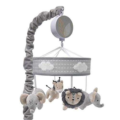 Lambs & Ivy Jungle Safari Musical Baby Crib Mobile - Gray, Beige, White, Animals
