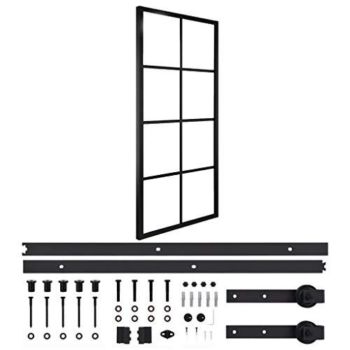 vidaXL Puerta Corredera con Herrajes Rail Guía Deslizante Moderna Baño Salón Sala de Estar Cristal Ahorra Espacio de Aluminio y Vidrio ESG 76x205cm