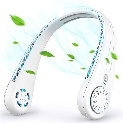 ESACLM Ventilador de Cuello Manos Libres, Ventilador Portátil Mini USB Ventilador de Banda para el Cuello Portátil Deportivo Recargable Personal, para Viajes Oficina Interior al Aire Libre