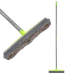 LandHope Push Bristle Broom for Pet Hair, Carpet, Hardwood, Tile, & Windows, Grey