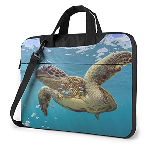 Laptop Sleeve Bag Turtle Theme Tablet Briefcase Ultraportable Protective Canvas for 15.6 inch MacBook Pro/MacBook Air/Notebook Computer