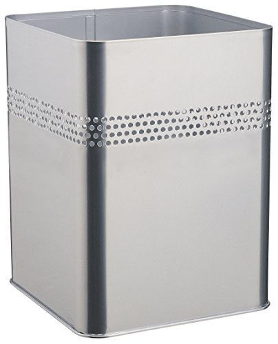 Durable 332023 Papierkorb Metall eckig 18,5 Liter, dekorative Perforation 30 mm, silber