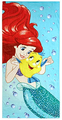 Disney The Little Mermaid Princess Kids Bath/Pool/Beach Towel - Featuring Ariel and Flounder - Super Soft & Absorbent Fade Resistant Cotton Towel, Measures 28 inch x 58 inch (Official Disney Product)