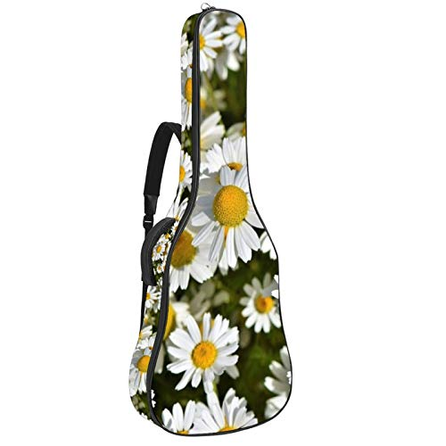 Bolsa de guitarra impermeable con cremallera suave para guitarra, bajo acústico y clásico folk guitarra eléctrica bolsa margaritas prado