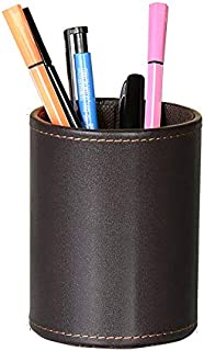 Leather Office Pencils Holder,UBaymax Round Pen Cup Remote Desk Accessories Organizer Desktop Stationery Container Box Brown