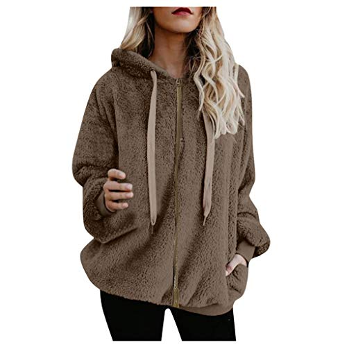 YULINGSTYLE Damen Pulli Winter Sweatjacke Fleece Mantel mit Kapuzen Warm Fleece Pullover übergrößen mit Zip Teddyfleecejacke GrößEr Wintermantel Flauschjacke PlüSch Kapuzenpullover Khaki L