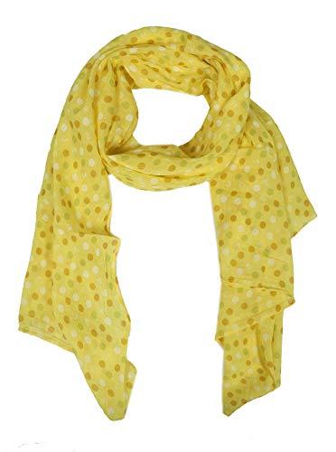 Zwillingsherz Seiden-Tuch mit Punkten - Hochwertiger Schal für Damen Mädchen - Halstuch - Umschlagstuch - Loop - weicher Schlauchschal für Frühjahr Sommer Herbst und Winter - gelb