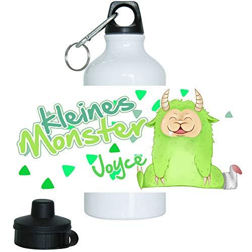 Eurofoto Trinkflasche Set mit Namen Joyce und Motiv - Kleines Monster - für Mädchen | Motiv-Trinkflasche | Kinder-Aluflasche