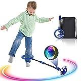 Kqpoinw Bola de Salto de Tobillo, LED Saltar Bola Plegable Anillo de Salto Intermitente Colorida Flash Bola de Salto Anillo de Salto de Tobillo Pelota de Baile para Niños y Adultos (Azul)