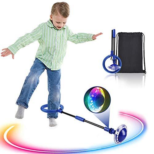 Kqpoinw Kinder Blinkender Springring, Knöchelsprungball mit Zähler Glühender Springender Ball Blinkender Sprungball Fettverbrennungsspiel für Kinder und Erwachsene (Blau)