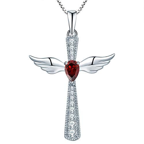 YL Cross Angel Wing Necklace 925 Sterling Silver January Birthstone Garnet Guardian Angel Pendant Necklace for Women
