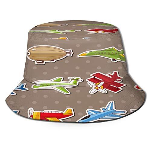 Sombrero Pescador Unisex,Aviones con estilo de dibujos animados Avión de pasajeros Zeppelin Avión,Plegable Sombrero de Pesca Aire Libre Sombrero Bucket Hat para Excursionismo Cámping De Viaje Pescar