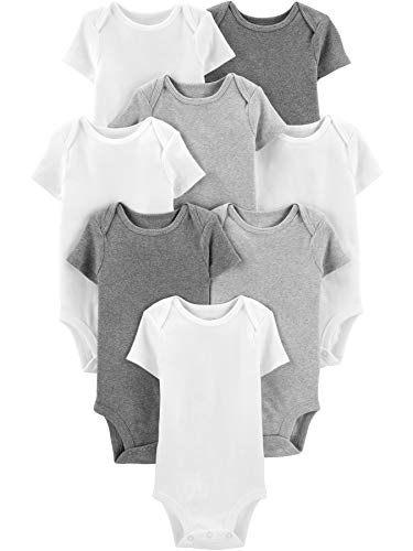 Simple Joys by Carter's Baby 8-Pack Short-Sleeve Bodysuit, White/Light Heather Grey/Medium Heather Grey, 3-6 Months