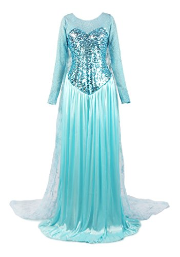 ReliBeauty Donna Cosplay Gonna Vestito Ruching Retro Principessa Elsa Women Dress Costume Abito Costumi, Blu, 46-48(L)