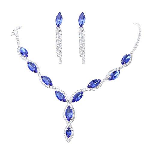 Damen Schmuck-Set aus Halskette und Ohrringen, in Tropfenform, blauer Kristall, Strass, von Yazilind