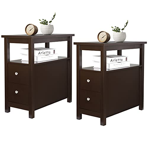 ZENY Side Table Set of 2 Chairside Table Narrow End Table with Storage Shelf and Drawers Bedside Nightstand End Table for Bedroom Living Room,Wood,Espresso