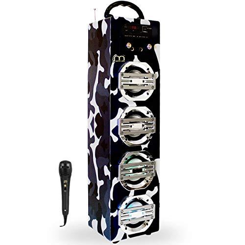 Music Life Altavoz Karaoke Bluetooth Portátil con Micrófono Inlámbrico USB Tarjeta TF Recargable con Radio FM (248-1)