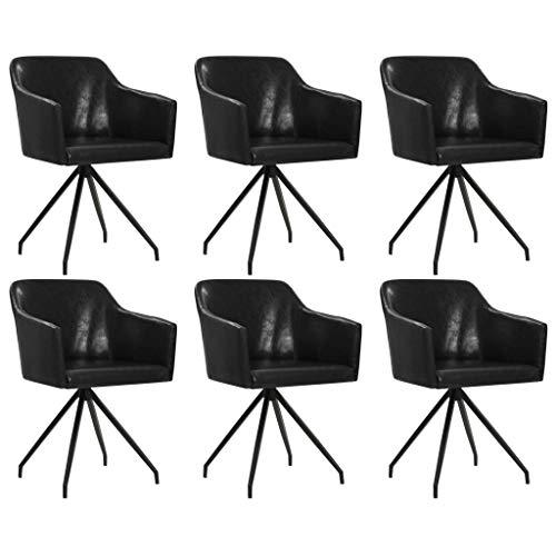 FAMIROSA Sillas de Comedor giratorias 6 Unidades Cuero sintético negro-6066