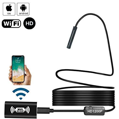 wangt Cámara De Video De Inspección HD 1200P Endoscopio A Prueba De Agua IP68 Cámara De Serpiente WiFi De 8MP 8 Luces LED Ajustables para Revisar El Automóvil,Softwire-2M