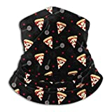 Zcfhike Happy Pepperoni Pizza UV Face Mask Soft Windproof Keep Warm Moisture Wicking Winter Microfiber Neck Warmer 30×25cm Black