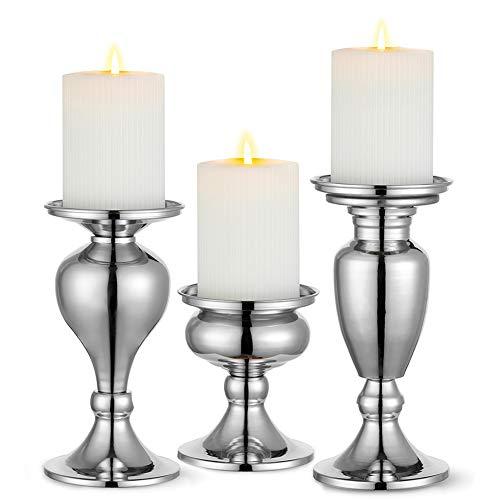Sziqiqi MetallicPillar Candleholder Setfor Candle Centerpieces, Table Mantel Fireplace Decoration Set of 3Gourd-Shaped Design Silver