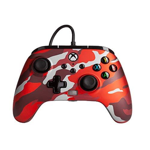 Power a - Mando con Cable, Salida de Audio y Botones Programables, de Color Rojo Camo Metálico Para Xbox One y Xbox Serie X (Xbox Series X)