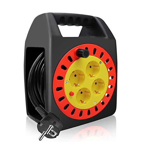 ExtraStar Kabelbox 20M, IP20 - H05VV-F3G1,5mm², Thermoschutz-Schalter, Kabeltrommel Indoor mit 4 Steckdosen, Kindersicherung, Verlängerungskabel, CE geprüft (2P+T)