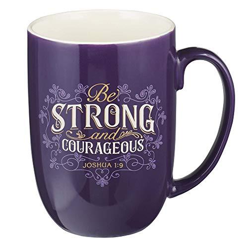 Christian Art Gifts Purple Ceramic Coffee/Tea Mug for Women | Strong & Courageous Joshua 1:9 | Inspirational Coffee/Tea Cup for Women 15oz.