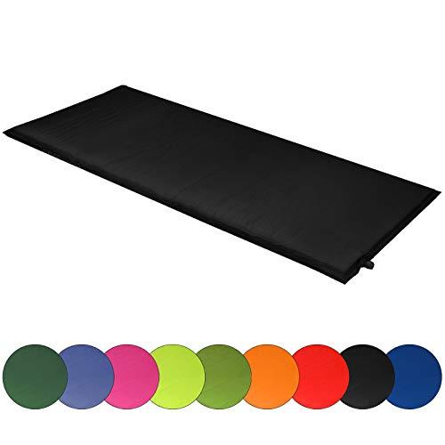 ALPIDEX Isomatte Selfinflating Matte Selbstaufblasende Outdoor Thermomatte in Verschiedene Größen und Farben, Farbe:Black, Maße:200 x 66 x 6.0 cm