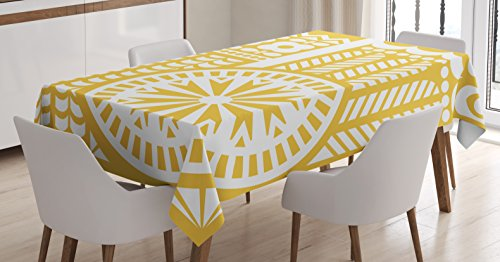 "Ambesonne Yellow and White Tablecloth, Abstract Bird in Scandinavian Folkloric Style Retro Design Floral Motif, Dining Room Kitchen Rectangular Table Cover, 52"" X 70"", Mustard White"