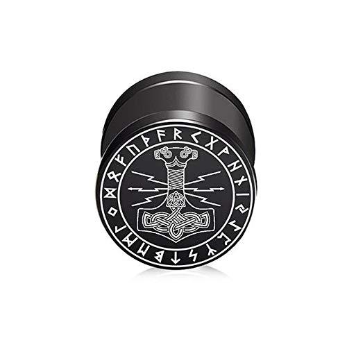 BlackAmazement Pendiente falso dilatador de acero inoxidable 316L, diseño de martillo de Thor, triqueta, runas y símbolo Mjolnir, Malmer, rayo de trueno, 10 mm, negro, para hombre y mujer
