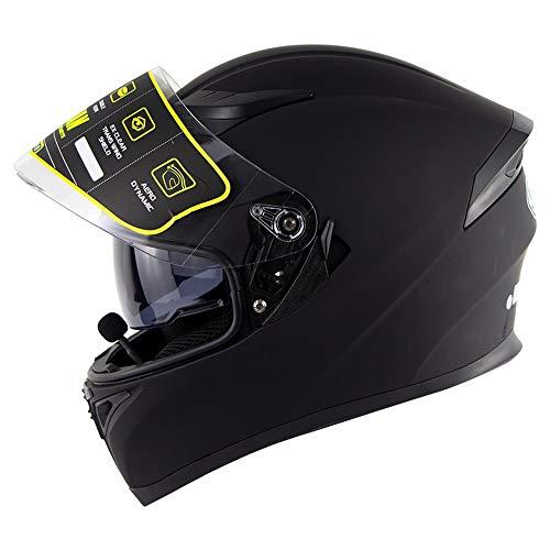 AmzGxp Bluetooth Motorradhelm Doppellinse Offener Gesichterhelm Elektrischer Motorradhelm Hochwertiger Bluetooth Headset Schutzhelm Für Männer Und Frauen Atmungsaktiver Komfort - Matt Schwarz - Groß G