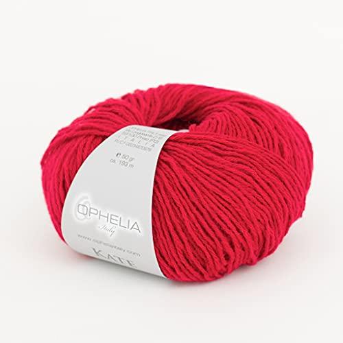 Ophelia Italy Kate - 008 Rosso - Gomitoli Lana 50g Filato Classico lineare 30% Lana Vergine 70%...