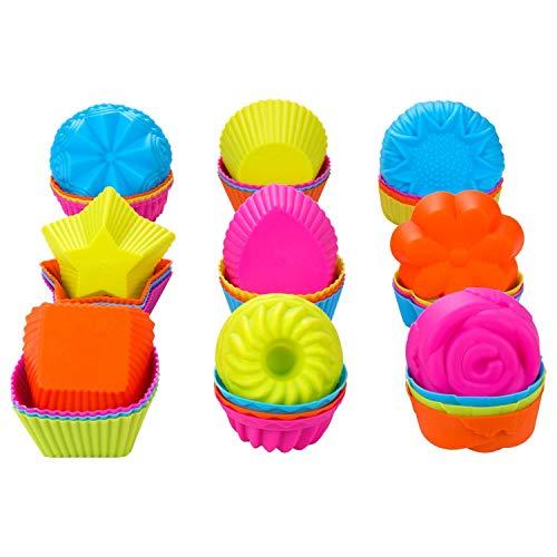 ACAMPTAR - Juego de 36 tazas de silicona para magdalenas, antiadherentes, aptas para lavavajillas