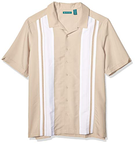 Cubavera Men's Big and Tall Big & Tall Color Block Embroidery Panel Shirt, Oxford Tan, 4X Large