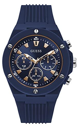 GUESS Reloj de cuarzo de policarbonato para hombre con correa de silicona, azul, 24 (Modelo: GW0268G3)